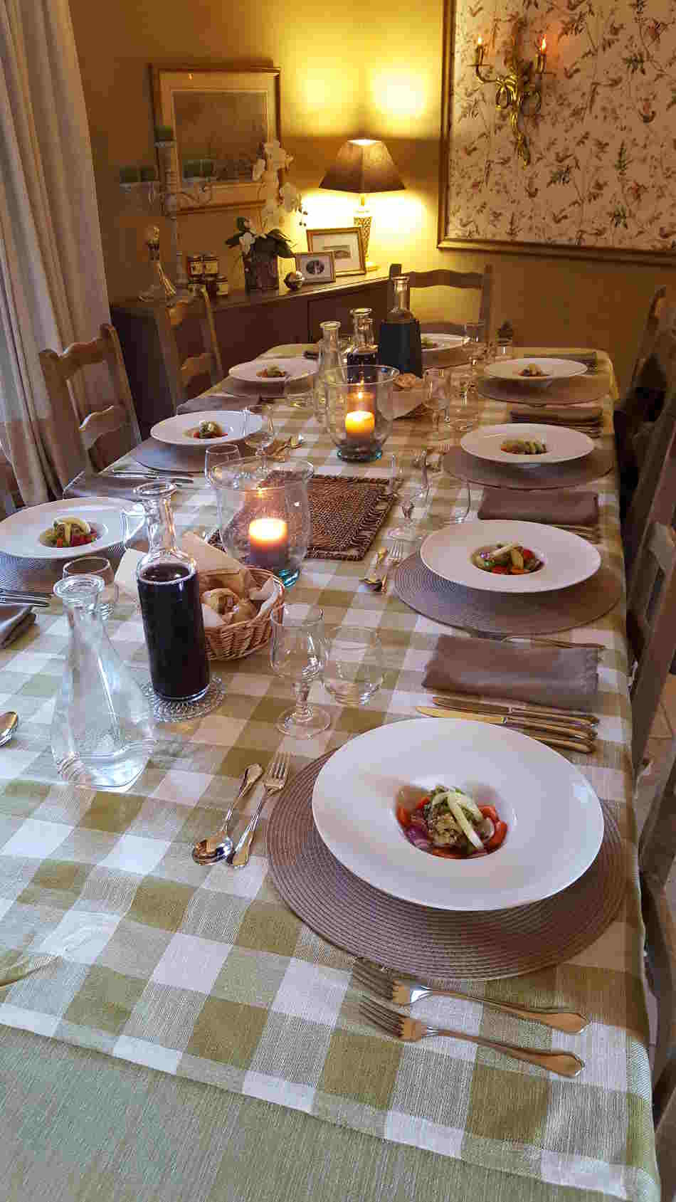 Dining table at Correze Cycling Holidays France